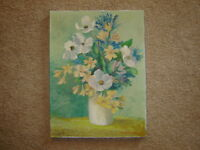 Floral flowers original oil painting dogwood lilac yellow green white 12 x 16