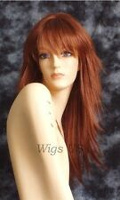Long Wig Auburn Red Razored Layers Skin Part Bangs Runway Fashion Wigs US Seller