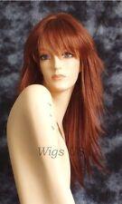 Long Wig Auburn Red Razored Layers Skin Part Bangs Runway Fashion Wigs US Seller