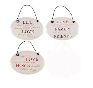 12cm Metal Plaque Oval Hanging Signs with Inspiring Quotes Home Love Family