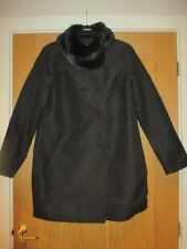 Ladies Black Coat with fur collar - Clements Ribeiro - Size L/14/40 - BNWT