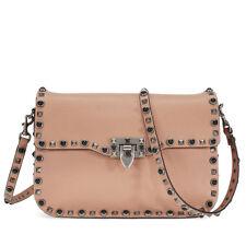Valentino Rockstud Rolling Leather Shoulder Bag - Noisette