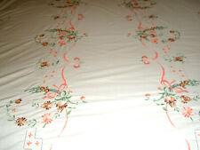 Vintage Tablecloth Oval 64 x 134 Floral Beige Orange Green Brown