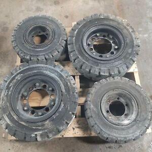 Cat P5000 2P5000 Complete Set of Forklift Rims/Tires