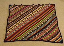 Colorful Warm Cozy Crotchet Afghan Striped Multi Color Throw Blanket 46x46 EXC