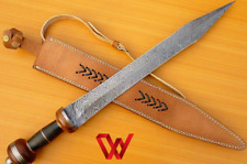 Custom Handmade Damascus Steel Sword Hunting Sword with Leather sheath.