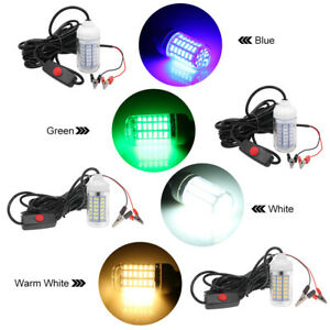 12V 15W Underwater Fishing Attract Light LED Lamp with 30ft Power Cord TA M5Z8