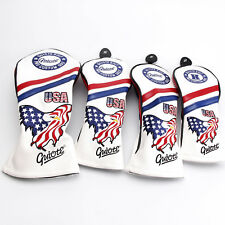 NEW AMERICAN EAGLE PREMIUM PU LEATHER HEAD COVER SET 4 COVERS D,3,5 & HYBRID