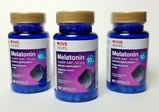 Lot of 3 CVS Health Melatonin 10mg Sleep Aid Supports Sound Sleep 60 capsules