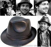 New Black Leather Look Hat Ladies Mens Boys PVC Trilby Pork Pie Gangster fedora