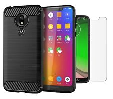 for Motorola Moto G7 Play Case Carbon Fibre Cover & Glass Screen Protector