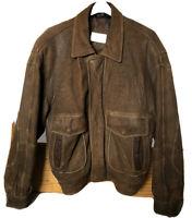 ANDREW MARC Dark Brown Genuine Leather Men's Bomber Jacket Sz M