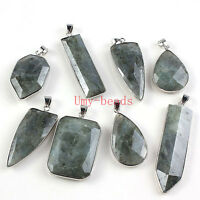 Natual Labradorite Gemstone Faceted Multiple Style Link Chain Pendant Necklace