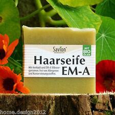 SAVION Haarseife EM-A Mikroorganismen 85 g VEGAN, HAARWASCHSEIFE, GRATIS* Luffa
