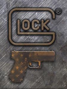 Vintage Glock Signs 12x16 in coyote brown