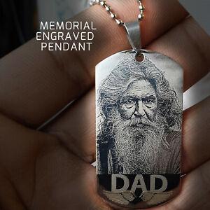 Memorial keepsake Engraved Dogtag Necklace Personalised Pendant Custom Engraving