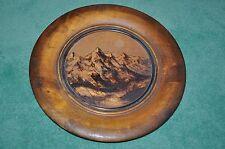 Assiette Décorative Bois - Paysage montagne - Decorative wooden plate - Mountain