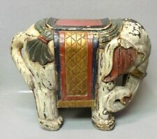 Very Rare Antique 19th Century Chinese Hand-Carved & Painted Wood Elephant Seat
