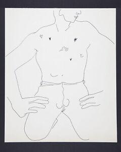 Andy Warhol Original Vintage 1950s Kneeling Male Line Drawing TOP203.055