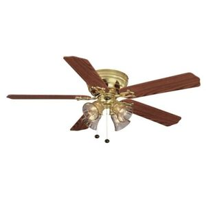 Hampton Bay Carriage House II 52 in. Polished Brass Ceiling Fan with Light