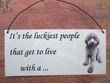 Labradoodle dog, choc, brown, Metal hanging sign, decorative sign, metal plaque