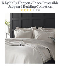 Kelly Hoppen 7 Piece Reversible Jacquard Bedding Collection Taupe King Size New