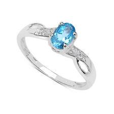 Anelli di lusso con gemme blu oro bianco, misura anello 15