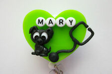 PERSONALIZED NURSE BLACK DOG RN NURSE MEDICAL DOCTOR VETERINARIAN BADGE HOLDER