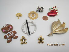 Rock,Leafs,Rim Hearts,Monet Silver Tone Lot 9 Vintage Pins+Tree,Ginger Man,Girls