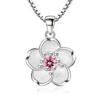 Plated Silver Crystal Sakura Flower Pendant Necklace For Women Girl