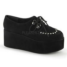 Demonia Grip 3 Ladies Black Suede Heart Studded Platform D Ring Shoes