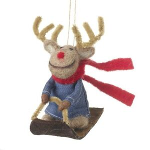 Quirky Hanging Reindeer On Sled Christmas Tree Decoration