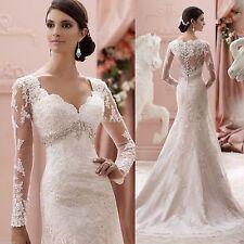 Elegant Mermaid Appliques Wedding Dress Bridal Gown Custom Made 6 8 10 12 14 16+