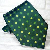 Cravatta uomo verde scuro geometrica JACQUARD 100% seta Made in Italy RP€ 36
