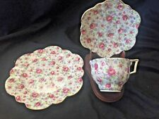 MCS Floral Footed Teacup, Saucer and Luncheon Plate Set in Unknown Pattern...