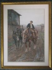 FRAMED WATERCOLOUR PAINTING by HENRY BAILEY 1848-1933 A FARMER WITH HIS HORSES