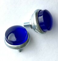 BLUE JEWEL REFLECTORS for Bicycle Saddlebag License plate  BOLTS or rear fender