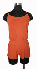 Free People orange striped spaghetti strap racerback tank short jumper xs