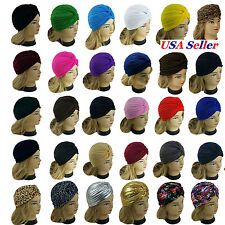 Women Stretchy Turban Head Wrap Band Chemo Bandana Hijab Pleated Indian Cap  Hat 19b289fadce