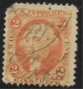2v0081 Scott R6 US Bank Check Stamp 1862-71 2c Washington