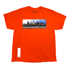 Travis Scott Astroworld Houston exclusivo Naranja Tee 93665-341 para Hombres Talla M-XXL