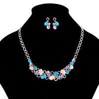 Vintage Women Cat Eye Rhinestone Statement Chain Necklace Earrings Jewelry Set