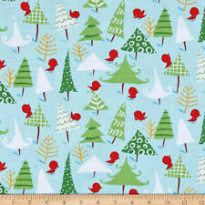 By 1/2 Yard Free Spirit Fabric Merry Christmas by David Walker Snow Birds Aqua