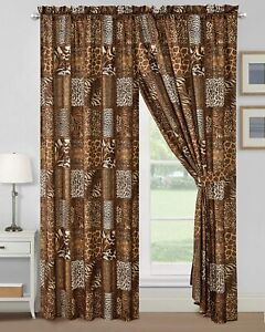 4 PC Animal Print Curtains Leopard Zebra Giraffe Panels Tiebacks Drapes Bedroom