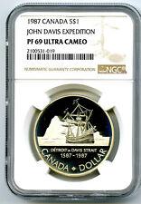 1987 S$1 CANADA SILVER PROOF JOHN DAVIS EXPEDITION NGC PF69 ULTRA CAMEO DOLLAR