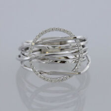 Poniros Layered Diamond Ring 18ct White Gold Size M