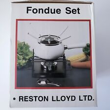 10-Piece Fondue Set White Porcelain Enamel Over Steel