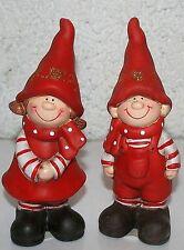 Winterkinder 2erSet stehend 15,5 cm - 16 cm h Junge und Mädchen Keramik Deko