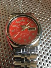 Seiko 5 Automatic Rare Dark Orange / Red Face Thai Numbers Vintage Watch