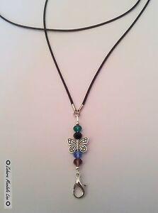 Crystals Black Leather ID Badge Holder HANDMADE Beaded Lanyard Fashion Necklace